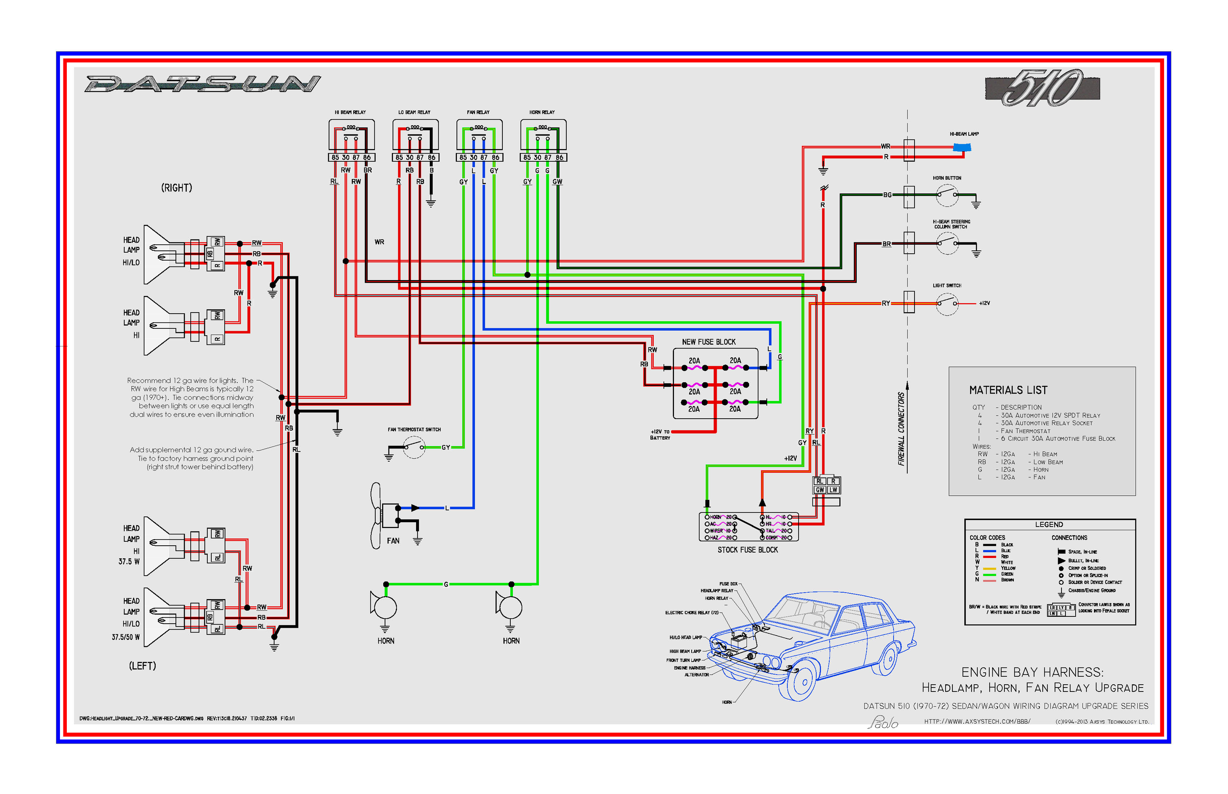 Headlight Wiring Diagram With Relay from datsun510.com