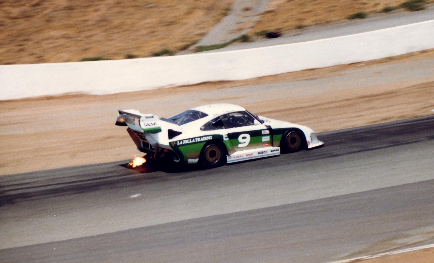 Porsche 935 entering Turn 6 at Riverside, '84 Times GP