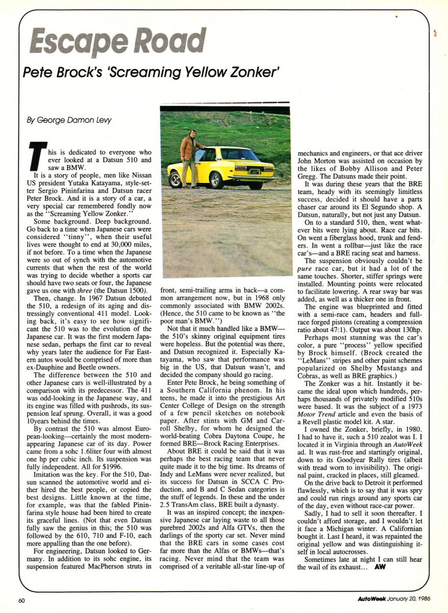 Pete Brock's 'Screaming Yellow Zonker' article
