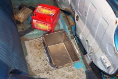 Battery box under back seat