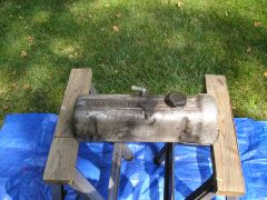 """early L series valve cover with """"DATSUN 1600 OHC"""" Insignia"""