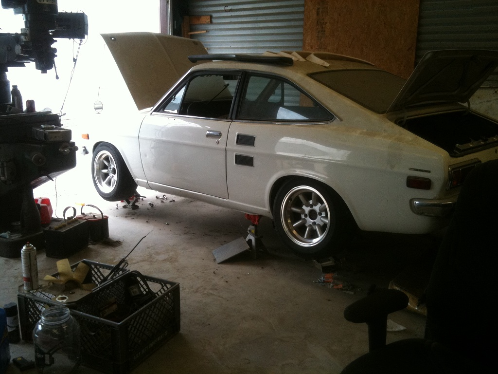 14x7 -9 wheels, fit pretty good...