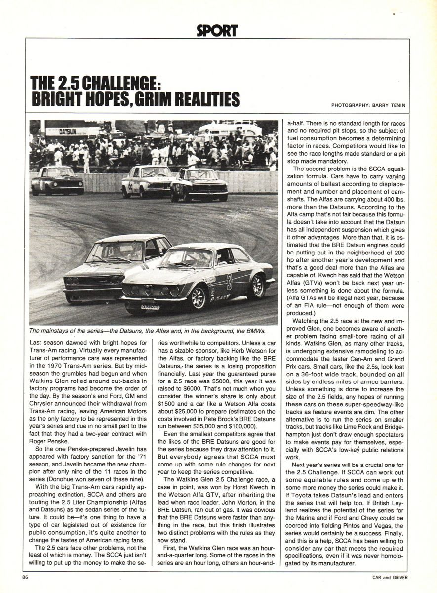 2.5 Challenge Article in Car and Driver
