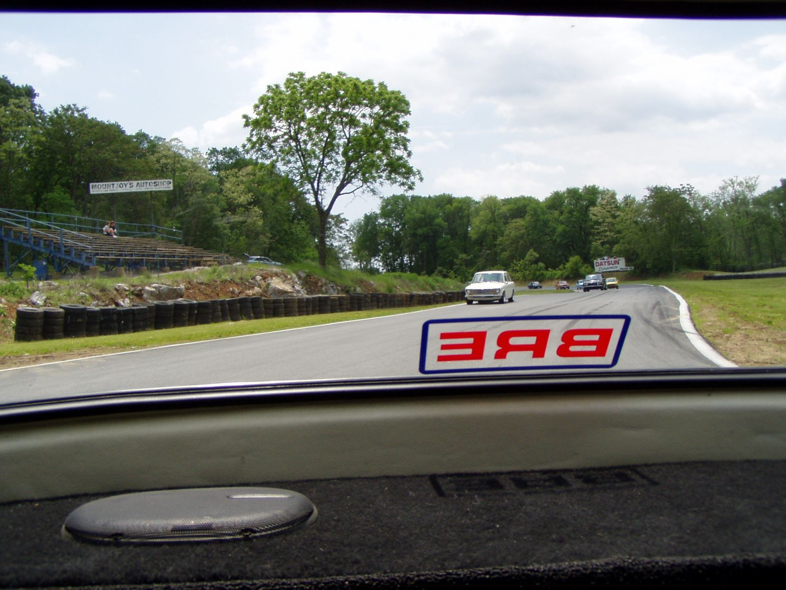 View out of Lou's rear window during parade laps