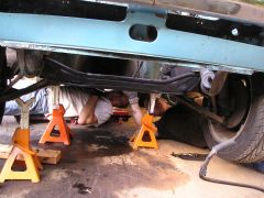 Mike and I working under the car to get the automatic trasmission out