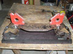 front crossmember flipped in fixture before welding