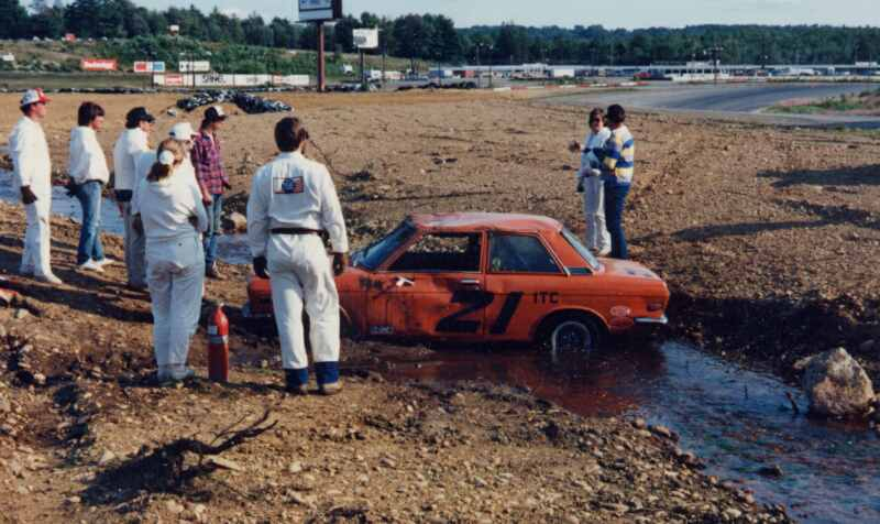 circa 1988, Datsun 510 in Brook at Bryar Loudon NH