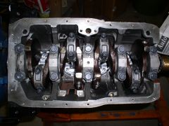 LZ23 Bottom End with Rods and Pistons in Place