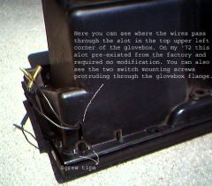 Glovebox wires through slot