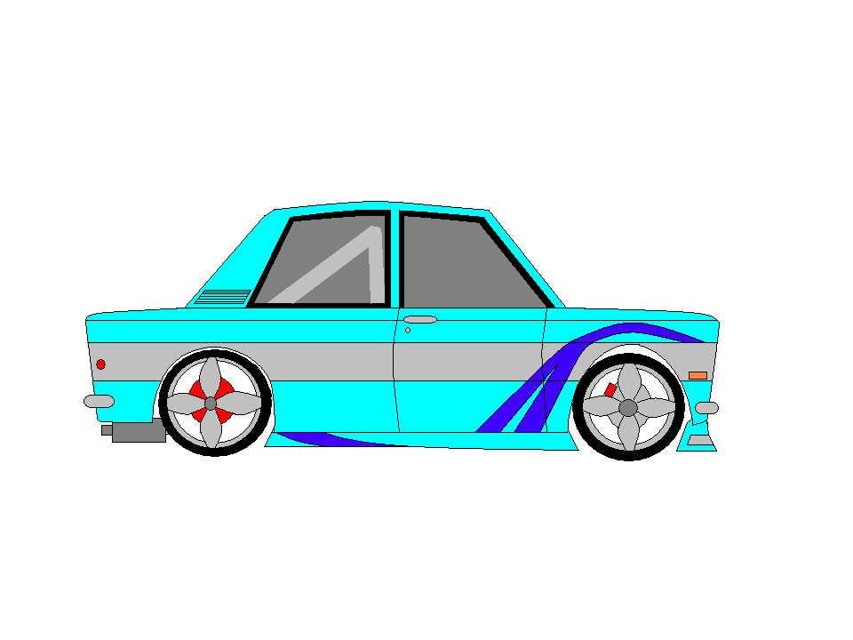 Datsun 510 and Truck -  Microsoft Paint ART