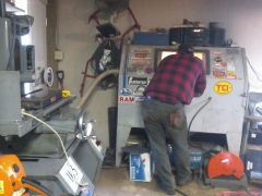 Buddy Dave sandblasting some heads before machine shop....