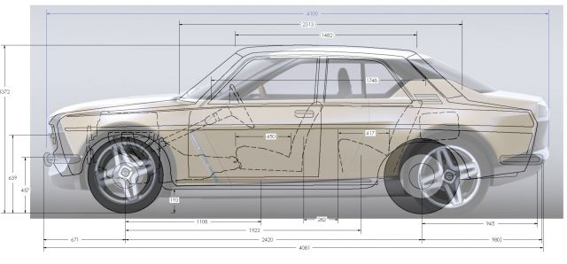 Quick Overlay of Datsun 510 sketch on Nissan's IDX image