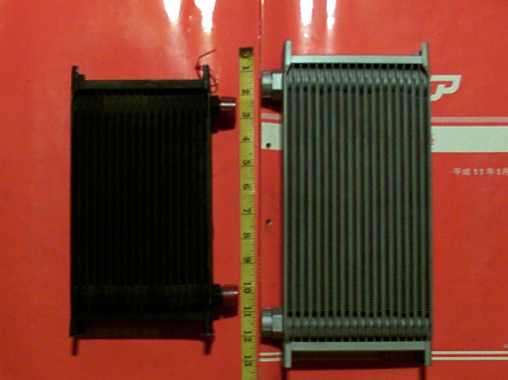 Oil cooler size comparison