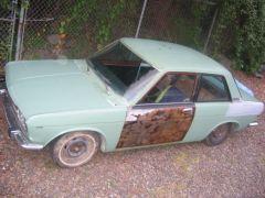 puke green and rusty doors