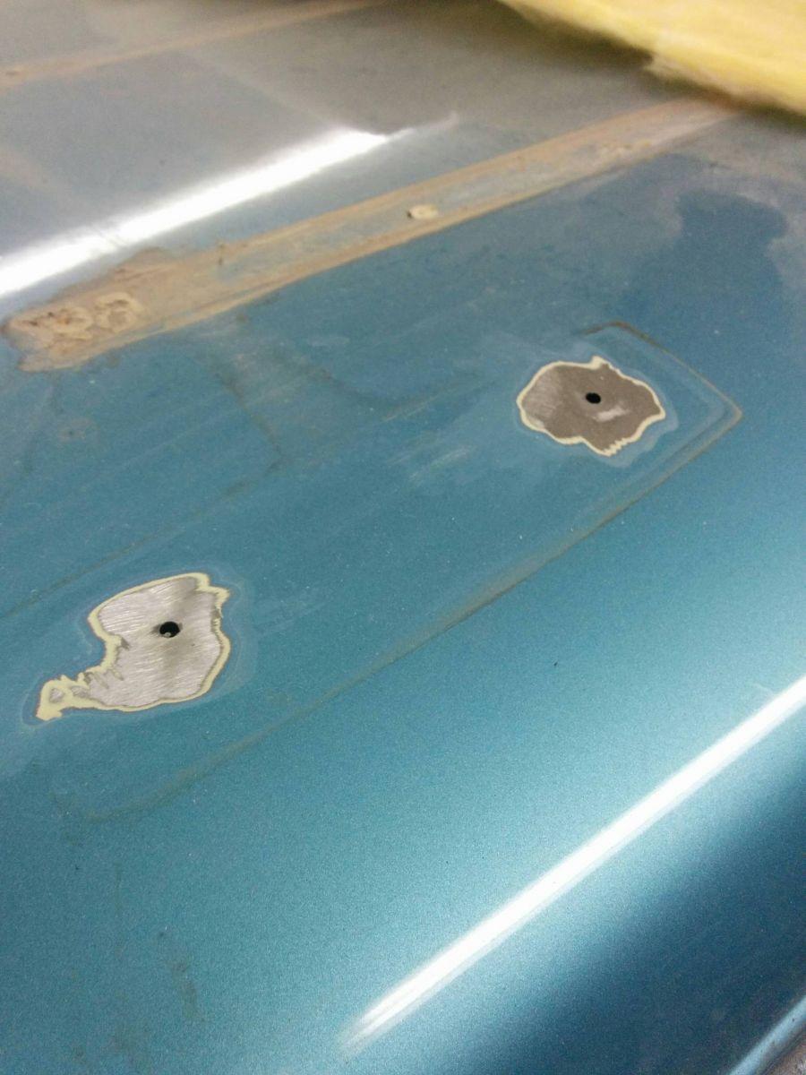 Screw holes hammered flat